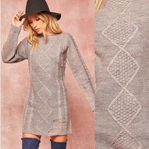 Sweater Weather Distressed Gray Sweater Dress